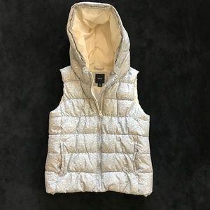 Gap Kids Hooded Puffer Vest Heather Gray L 10
